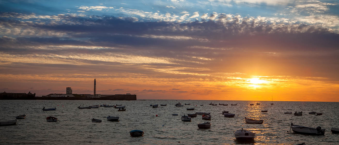sunset at la caleta in Cádiz Spain